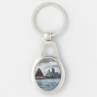 Water view of Sydney Silver-Colored Oval Keychain