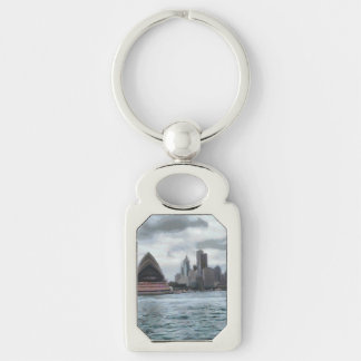 Water view of Sydney Silver-Colored Rectangle Keychain