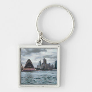 Water view of Sydney Silver-Colored Square Keychain