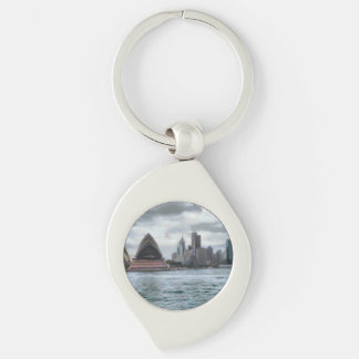 Water view of Sydney Silver-Colored Swirl Keychain