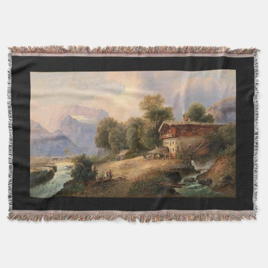 Water Wheel Alps Mountains Rivers Throw Blanket
