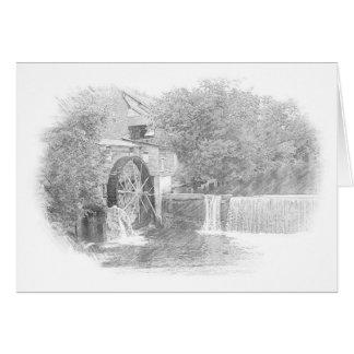 Water wheel and waterfall on lake card