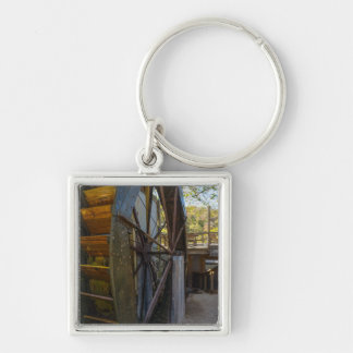 Water Wheel Dawt Mill Silver-Colored Square Keychain