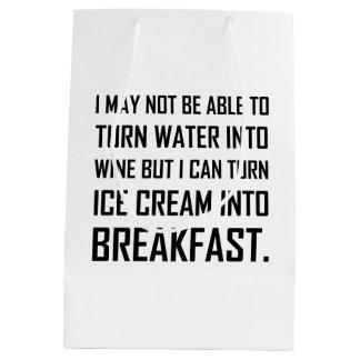 Water Wine Ice Cream Breakfast Joke Medium Gift Bag