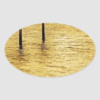 Water Yellow Sea Posts Oval Sticker