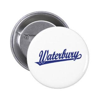 Waterbury script logo in blue button