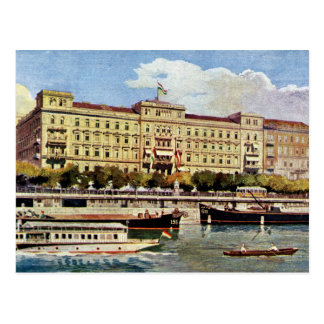 Watercolor 1920s Grand Hotel Budapest Postcard