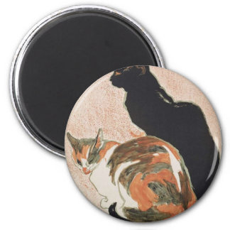Watercolor - 2 Cats - Théophile Alexandre Steinlen 2 Inch Round Magnet