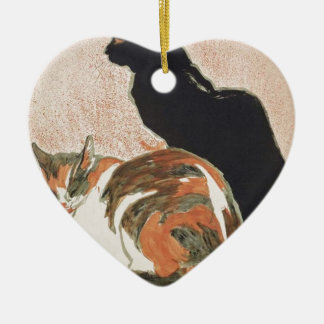 Watercolor - 2 Cats - Théophile Alexandre Steinlen Ceramic Heart Ornament