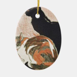 Watercolor - 2 Cats - Théophile Alexandre Steinlen Ceramic Oval Ornament