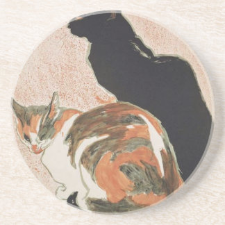 Watercolor - 2 Cats - Théophile Alexandre Steinlen Coaster