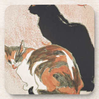 Watercolor - 2 Cats - Théophile Alexandre Steinlen Drink Coaster