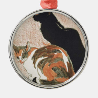 Watercolor - 2 Cats - Théophile Alexandre Steinlen Silver-Colored Round Ornament