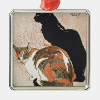 Watercolor - 2 Cats - Théophile Alexandre Steinlen Silver-Colored Square Ornament