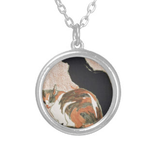 Watercolor - 2 Cats - Théophile Alexandre Steinlen Silver Plated Necklace