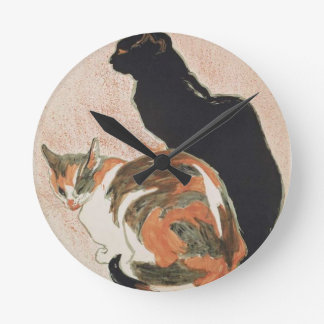 Watercolor - 2 Cats - Théophile Alexandre Steinlen Wallclock