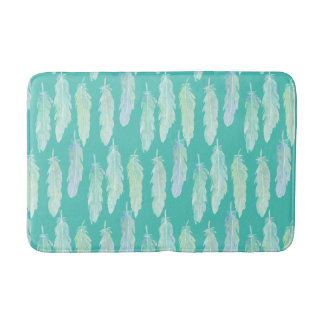 Watercolor abstract aqua feathers shower mat