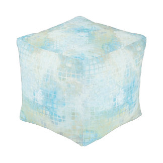 Watercolor Abstract Beach Pattern Pouf