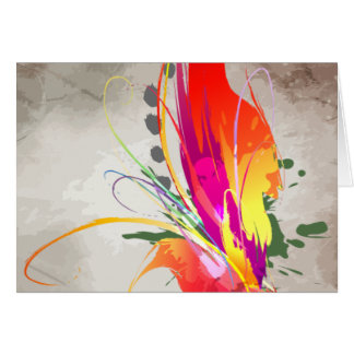 Watercolor Abstract Bird-of-Paradise Ink Splatter Card