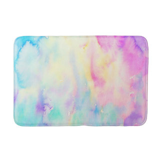 Watercolor abstract blue and purple Shower Mat