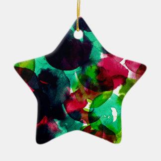 Watercolor abstract circles ceramic star ornament