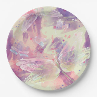 Watercolor Abstract Dragonflies Paper Plate