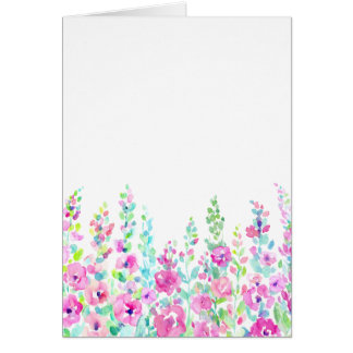 Watercolor abstract floral bed card