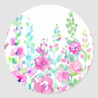 Watercolor abstract floral bed classic round sticker
