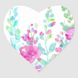 Watercolor abstract floral bed heart sticker