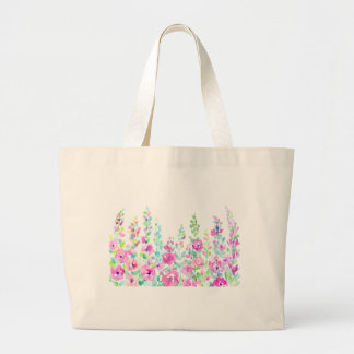 Watercolor abstract floral bed large tote bag