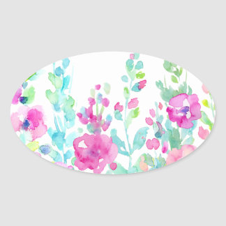 Watercolor abstract floral bed oval sticker