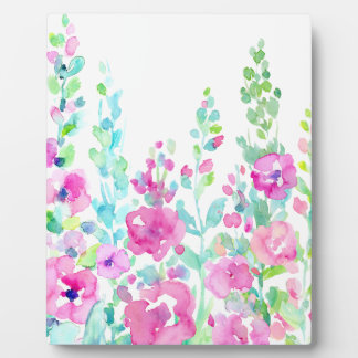 Watercolor abstract floral bed plaque
