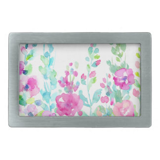 Watercolor abstract floral bed rectangular belt buckle