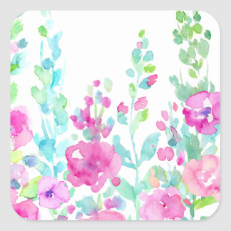 Watercolor abstract floral bed square sticker