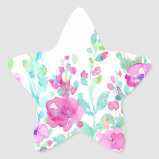 Watercolor abstract floral bed star sticker