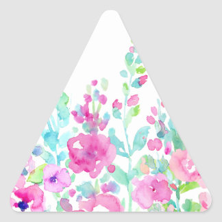 Watercolor abstract floral bed triangle sticker