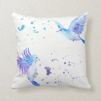 Watercolor Abstract flying birds Pillows
