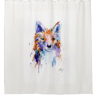 Watercolor Abstract Fox Shower Curtain
