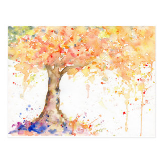 Watercolor Abstract Golden Tree Postcard