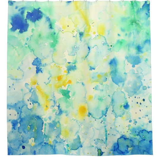 Watercolor Abstract Green & Yellow Shower Curtain