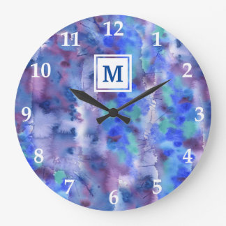 Watercolor Abstract Hand-Painted Blue Purple Teal Clocks
