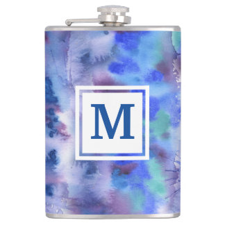 Watercolor Abstract Hand-Painted Blue Purple Teal Hip Flask