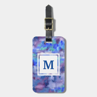 Watercolor Abstract Hand-Painted Blue Purple Teal Luggage Tag