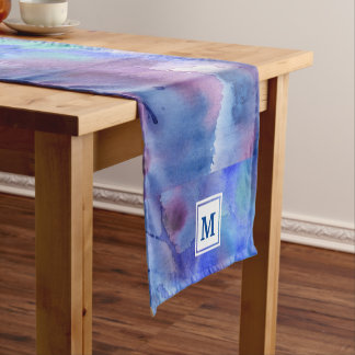Watercolor Abstract Hand-Painted Blue Purple Teal Short Table Runner