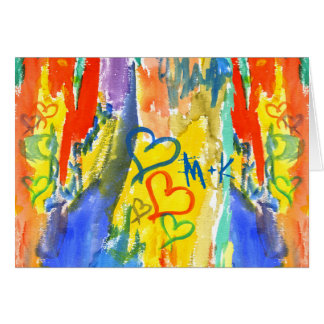Watercolor Abstract Hearts Colorful Random Paint Card