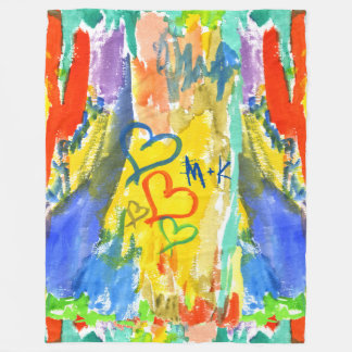 Watercolor Abstract Hearts Colorful Random Paint Fleece Blanket