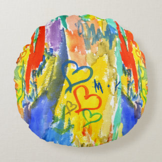 Watercolor Abstract Hearts Colorful Random Paint Round Pillow