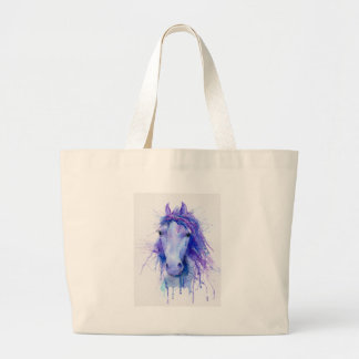 Watercolor abstract horse portrait large tote bag