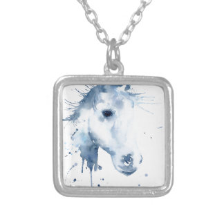 Watercolor Abstract Horse Portrait Silver Plated Necklace