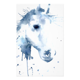 Watercolor Abstract Horse Portrait Stationery